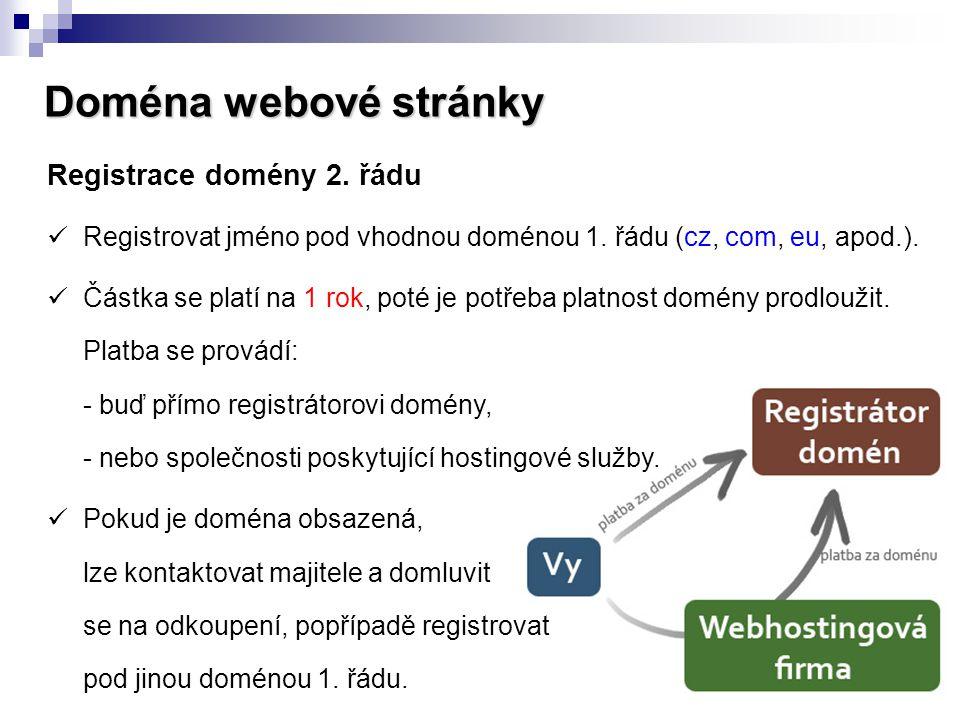 Doména webové stránky Registrace domény 2. řádu  Registrovat jméno pod vhodnou doménou 1. řádu (cz, com, eu, apod.).  Částka se platí na 1 rok, poté