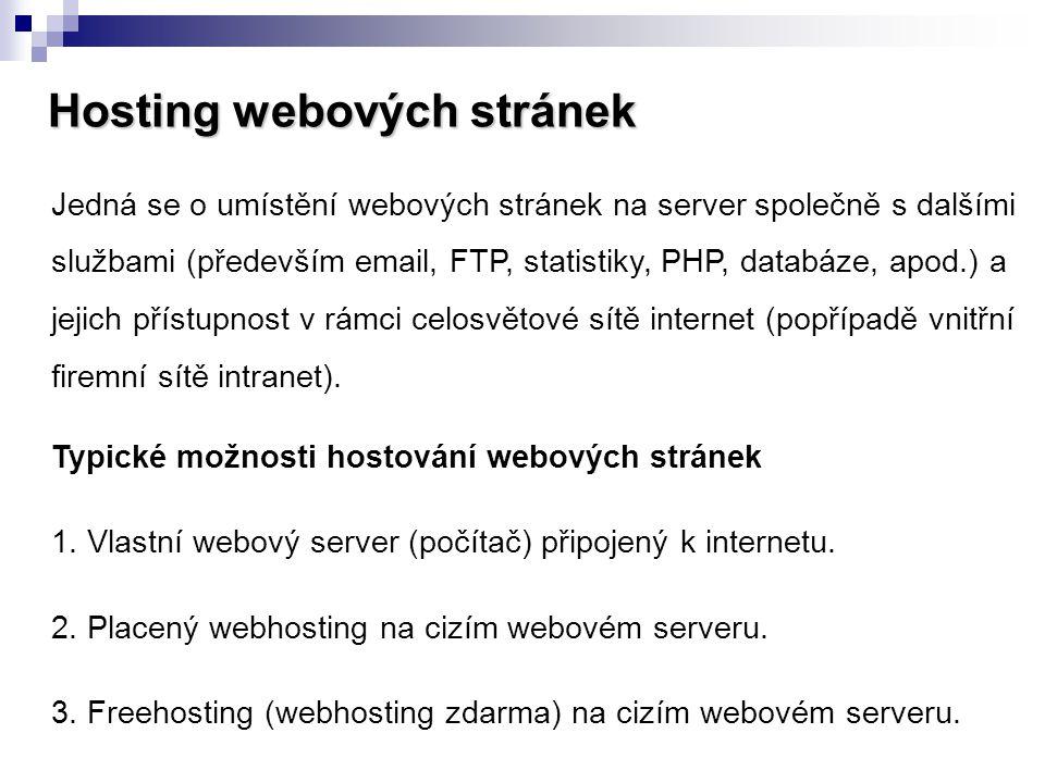 Hosting webových stránek Jedná se o umístění webových stránek na server společně s dalšími službami (především email, FTP, statistiky, PHP, databáze,