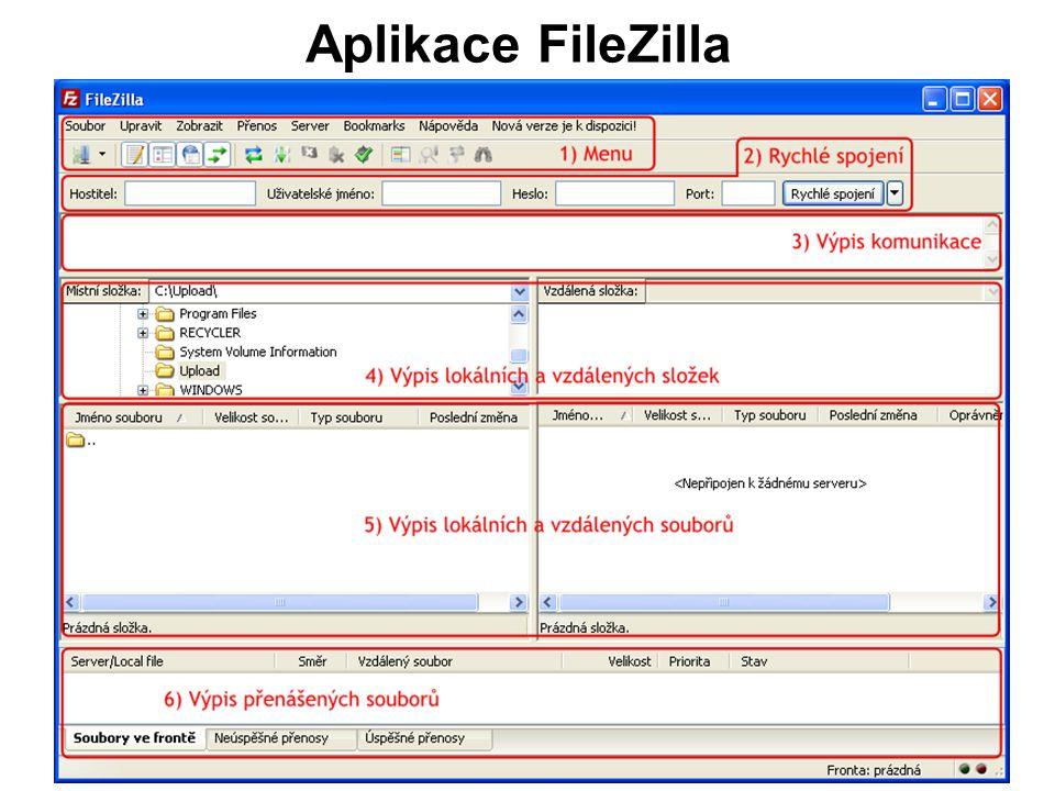 Aplikace FileZilla