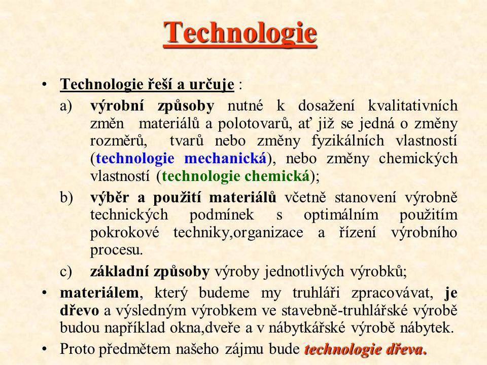 •T•Technologie řeší a určuje : a)výrobní způsoby nutné k dosažení kvalitativních změnmateriálů a polotovarů, ať již se jedná o změny rozměrů, tvarů nebo změny fyzikálních vlastností (technologie mechanická), nebo změny chemických vlastností (technologie chemická); b)výběr a použití materiálů včetně stanovení výrobně technických podmínek s optimálním použitím pokrokové techniky,organizace a řízení výrobního procesu.