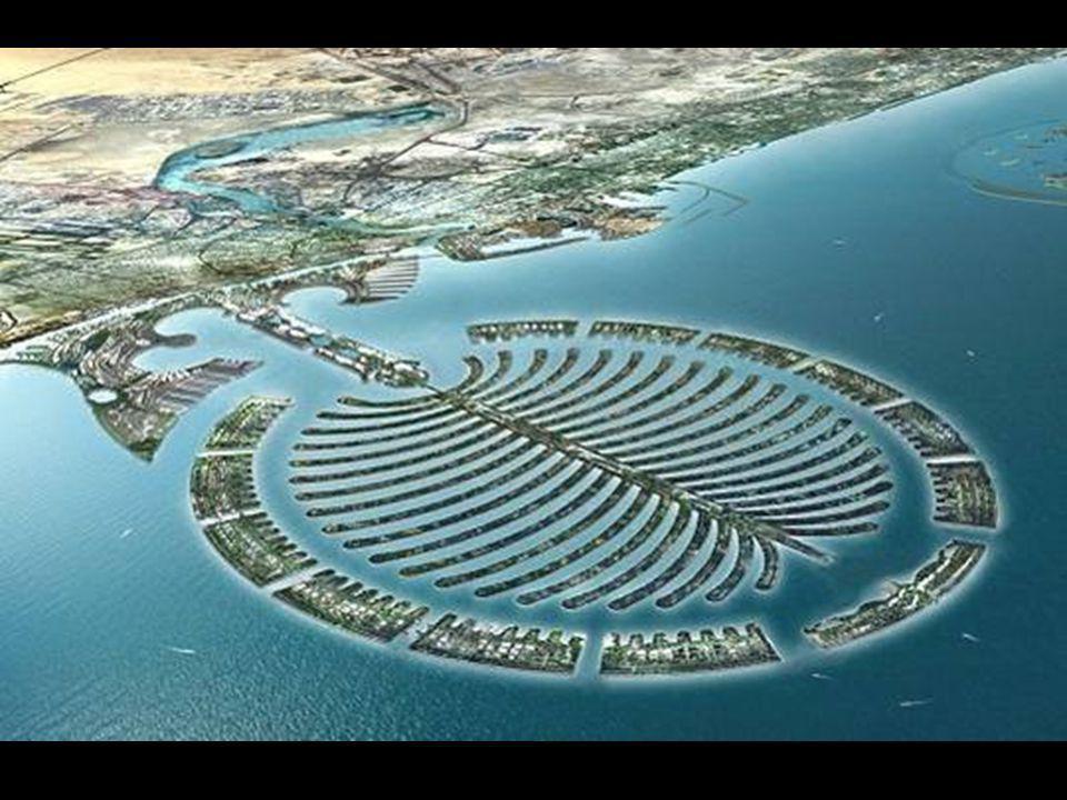 Palmové ostrovy Dubaje Nová technologie nizozemských stavitelů hrází umožnila postavit takové množství ostrovů. Je to největší skupina umělých ostrovů