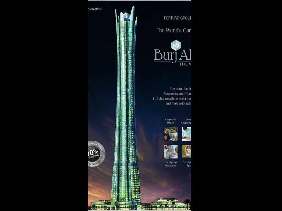 Burj al Alam (The World Tower) V době dokončení to bude největší hotelová budova světa. Se 480 metry bude pouze o 28 metrů nižší než Taipei 101.