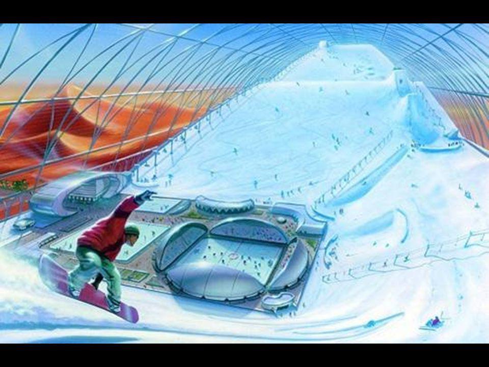 Otevřená je největší zastřešená lyžařská hala světa. Obrázek je studií pro druhou halu, která se bude stavět.