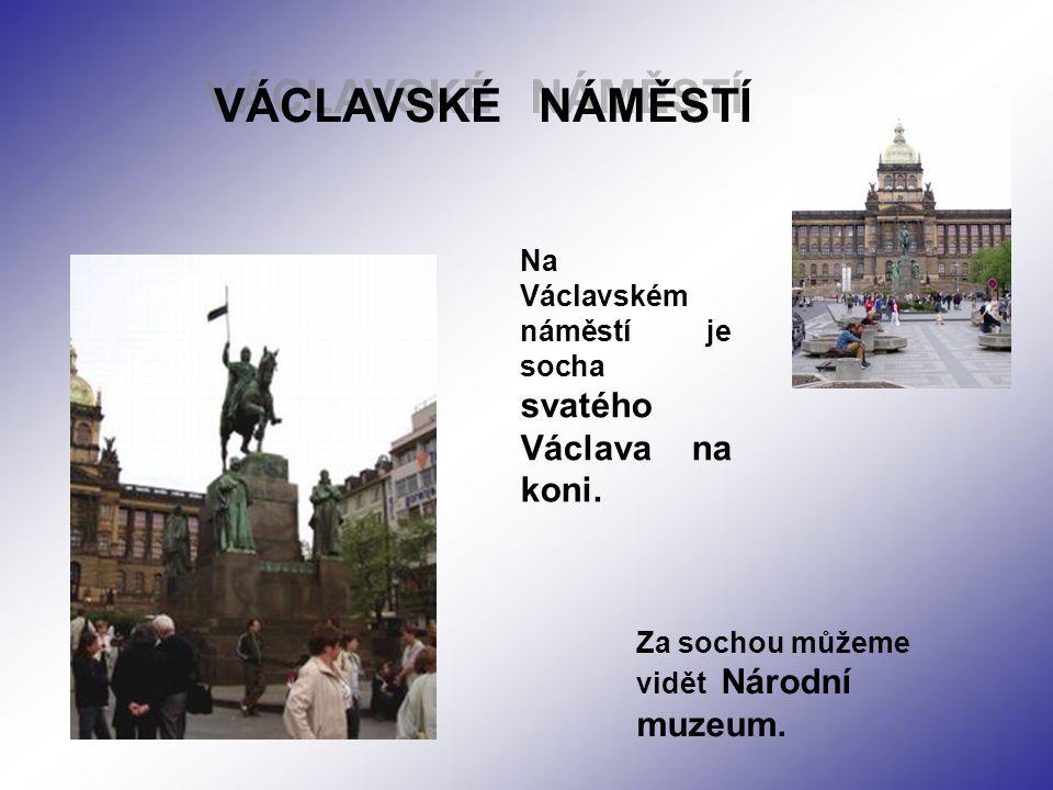 Na Václavském náměstí je socha svatého Václava na koni. VÁCLAVSKÉ NÁMĚSTÍ VÁCLAVSKÉ NÁMĚSTÍ Za sochou můžeme vidět Národní muzeum.