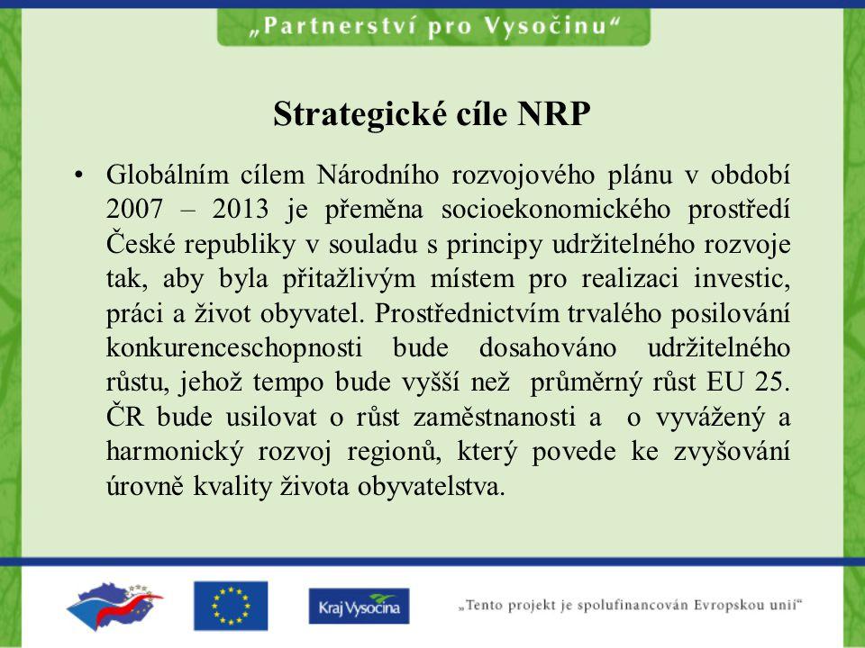 Strategické cíle NRP •Globálním cílem Národního rozvojového plánu v období 2007 – 2013 je přeměna socioekonomického prostředí České republiky v soulad