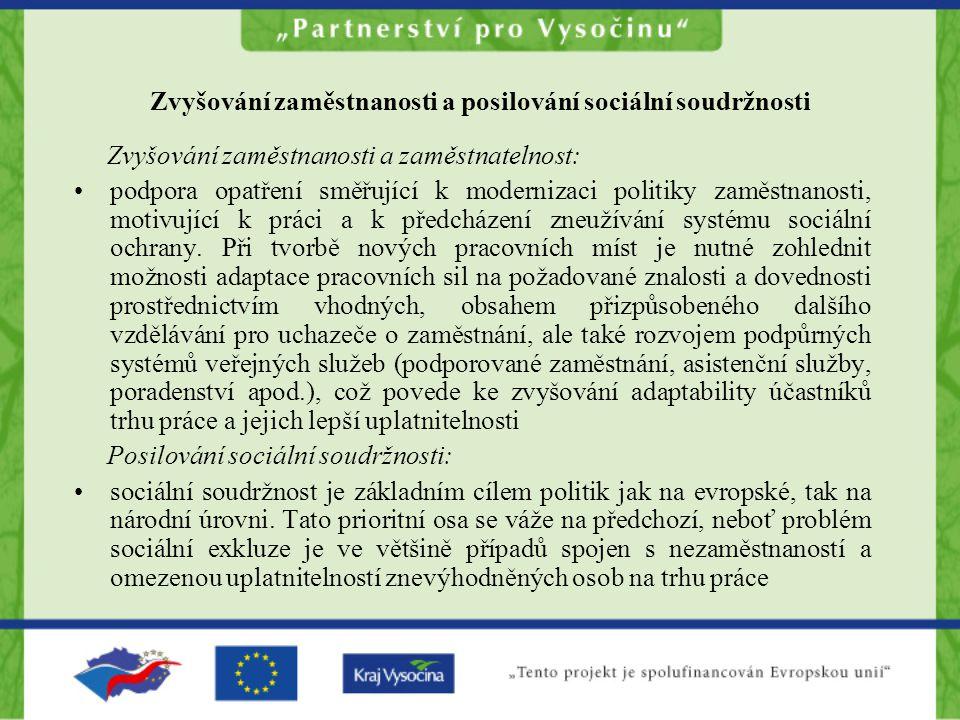 Zvyšování zaměstnanosti a posilování sociální soudržnosti Zvyšování zaměstnanosti a zaměstnatelnost: •podpora opatření směřující k modernizaci politik