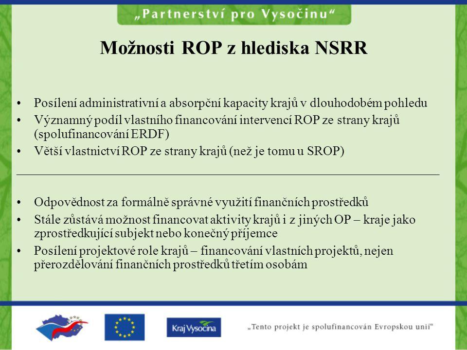 Možnosti ROP z hlediska NSRR •Posílení administrativní a absorpční kapacity krajů v dlouhodobém pohledu •Významný podíl vlastního financování interven