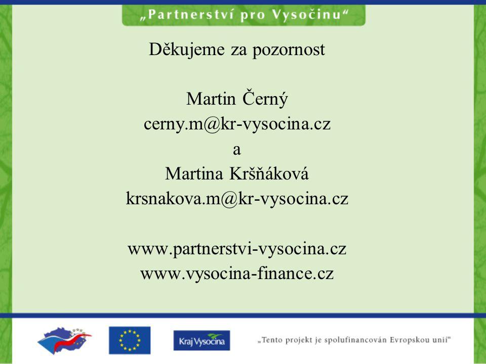 Děkujeme za pozornost Martin Černý cerny.m@kr-vysocina.cz a Martina Kršňáková krsnakova.m@kr-vysocina.cz www.partnerstvi-vysocina.cz www.vysocina-fina