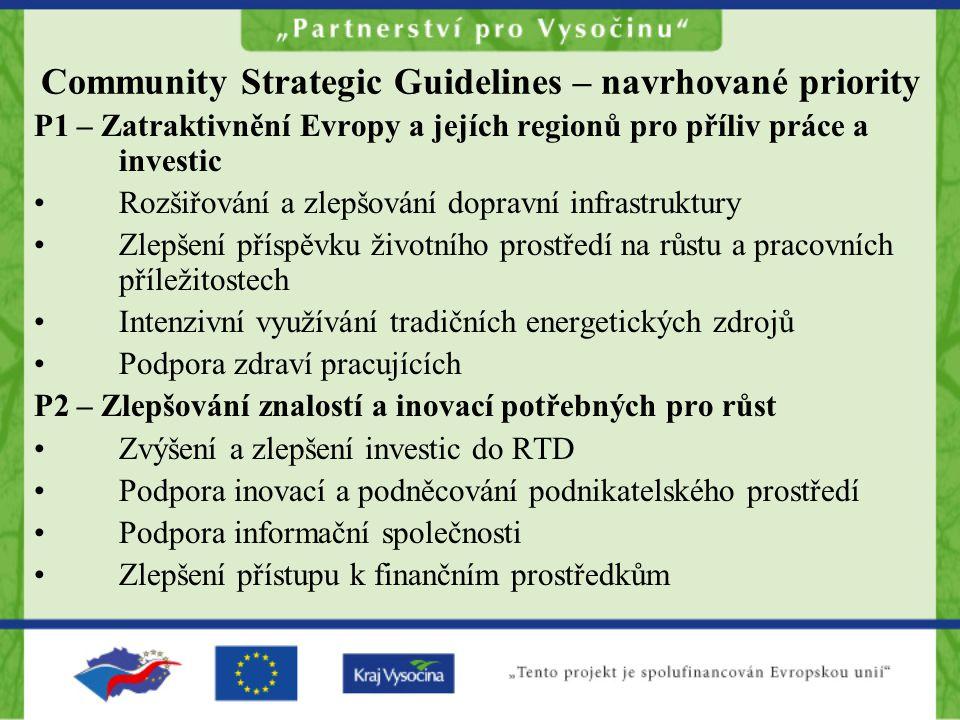 Community Strategic Guidelines – navrhované priority P1 – Zatraktivnění Evropy a jejích regionů pro příliv práce a investic •Rozšiřování a zlepšování