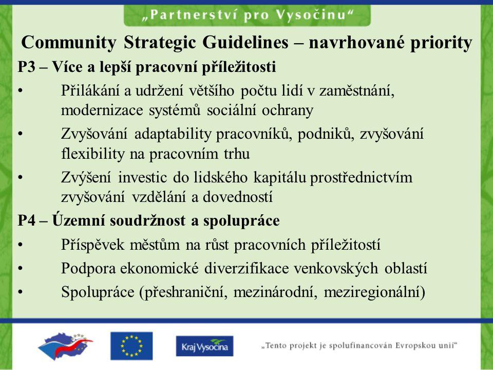 Community Strategic Guidelines – navrhované priority P3 – Více a lepší pracovní příležitosti •Přilákání a udržení většího počtu lidí v zaměstnání, mod