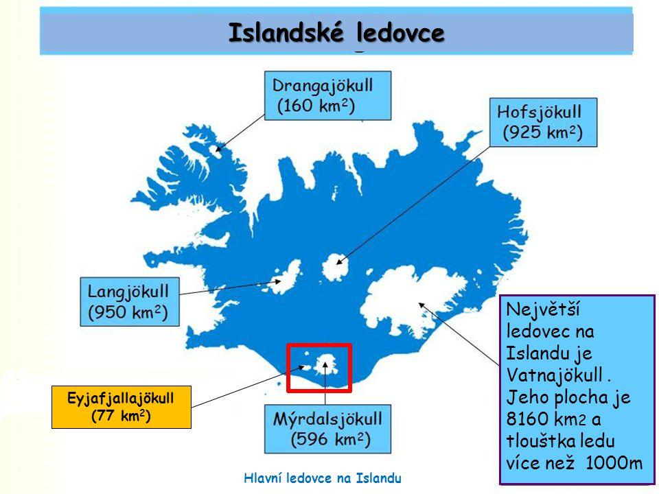 Eyjafjallajökull (77 km 2 ) Islandské ledovce Hlavní ledovce na Islandu Největší ledovec na Islandu je Vatnajökull.