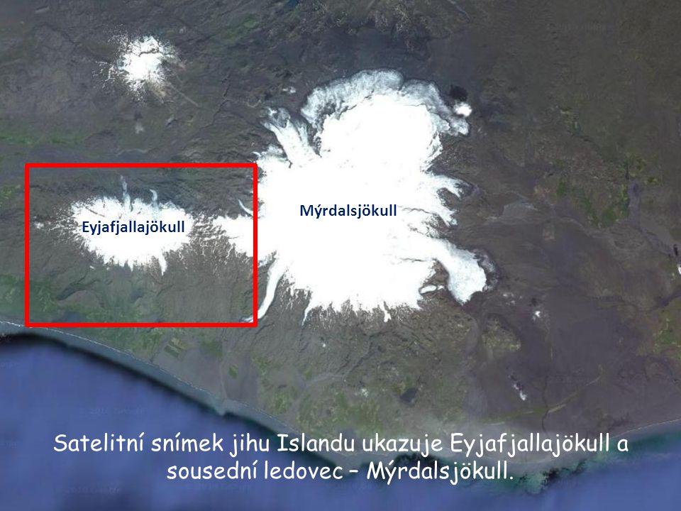 Eyjafjallajökull Mýrdalsjökull Satelitní snímek jihu Islandu ukazuje Eyjafjallajökull a sousední ledovec – Mýrdalsjökull.