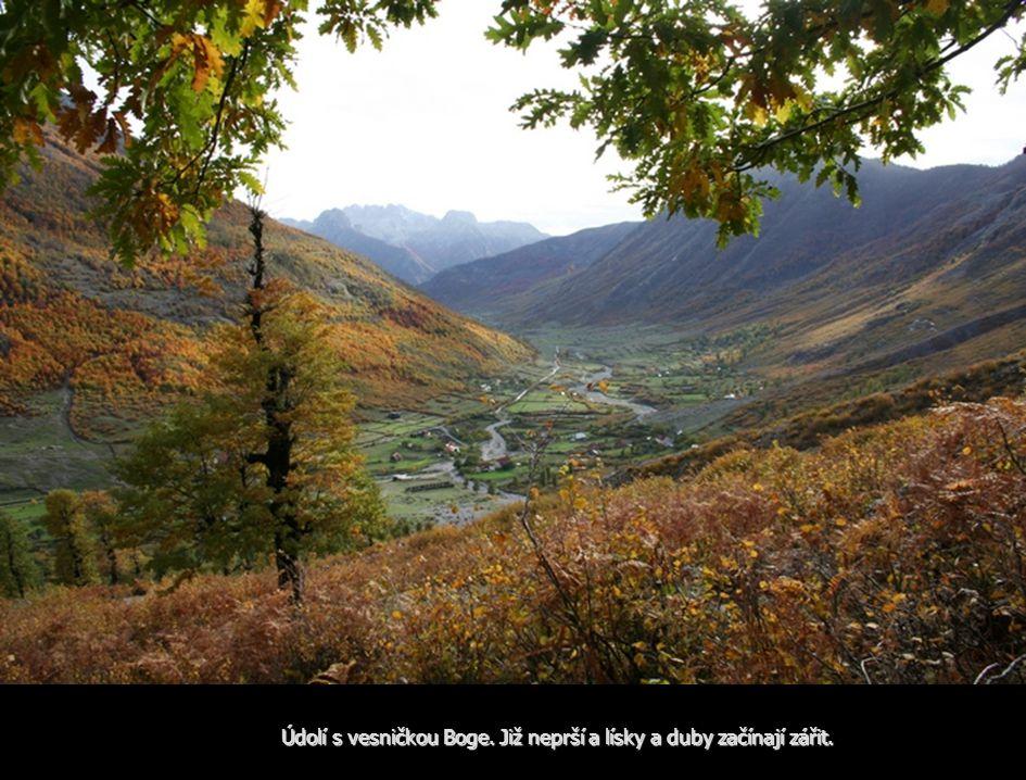 Údolí s vesničkou Boge. Již neprší a lísky a duby začínají zářit.