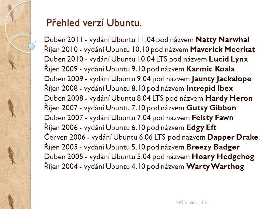 Přehled verzí Ubuntu. SPŠ Teplice - 3.V Duben 2011 - vydání Ubuntu 11.04 pod názvem Natty Narwhal Říjen 2010 - vydání Ubuntu 10.10 pod názvem Maverick