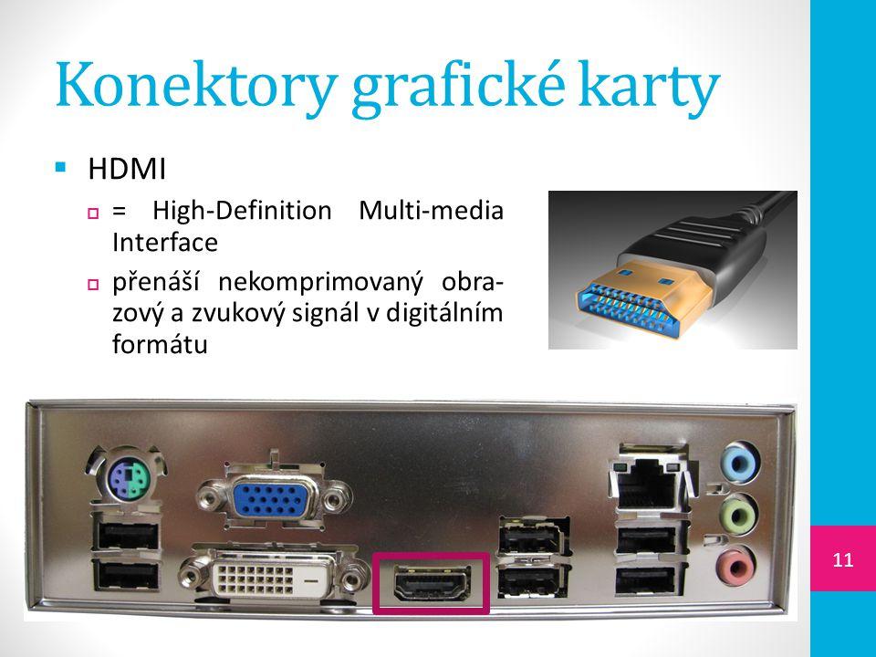 Konektory grafické karty  HDMI  = High-Definition Multi-media Interface  přenáší nekomprimovaný obra- zový a zvukový signál v digitálním formátu 11
