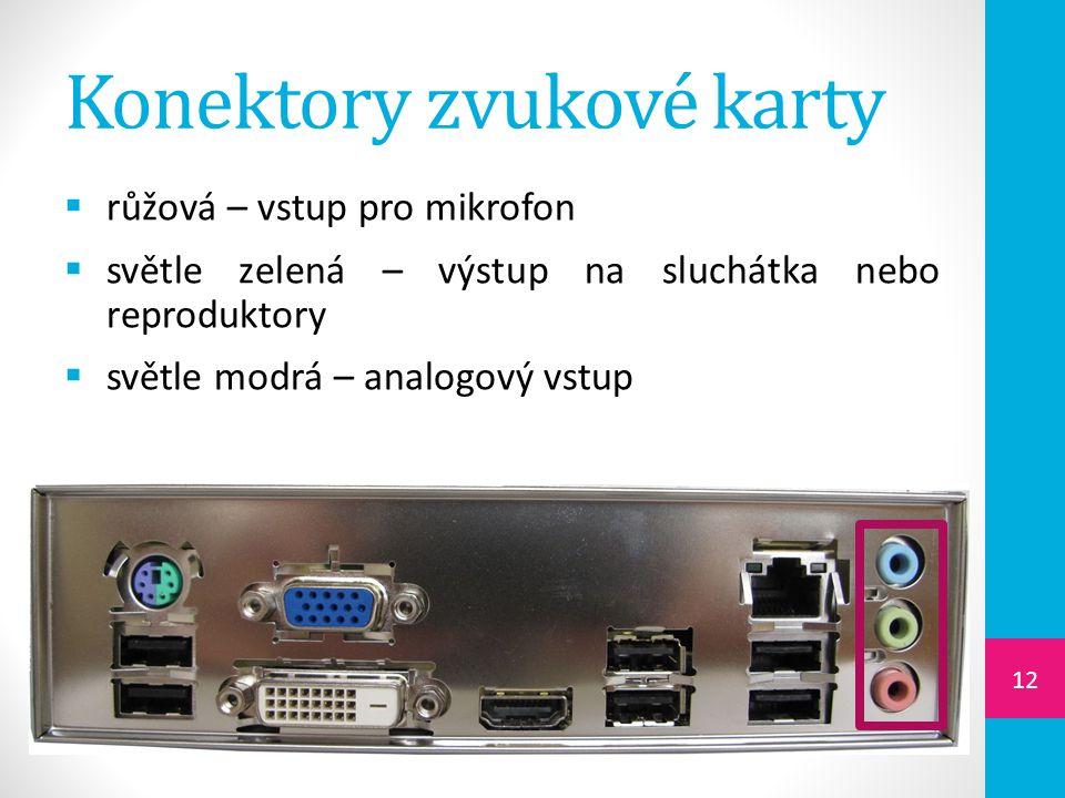 Konektory zvukové karty  růžová – vstup pro mikrofon  světle zelená – výstup na sluchátka nebo reproduktory  světle modrá – analogový vstup 12