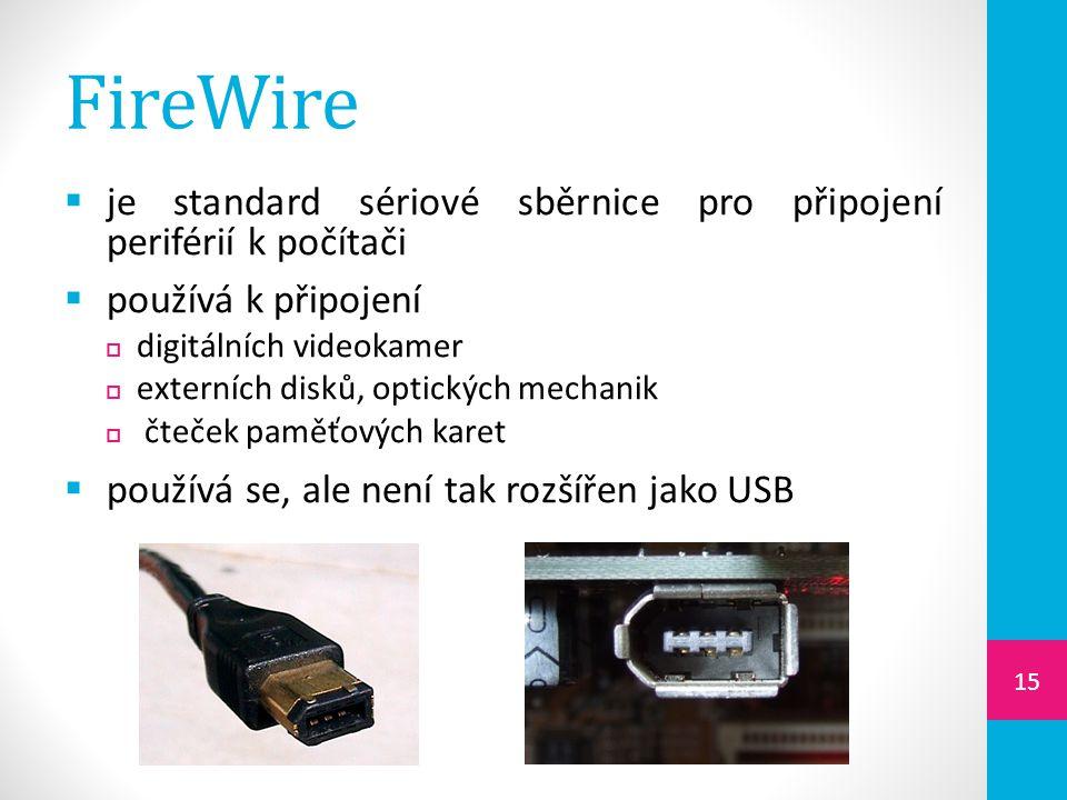 FireWire  je standard sériové sběrnice pro připojení periférií k počítači  používá k připojení  digitálních videokamer  externích disků, optických