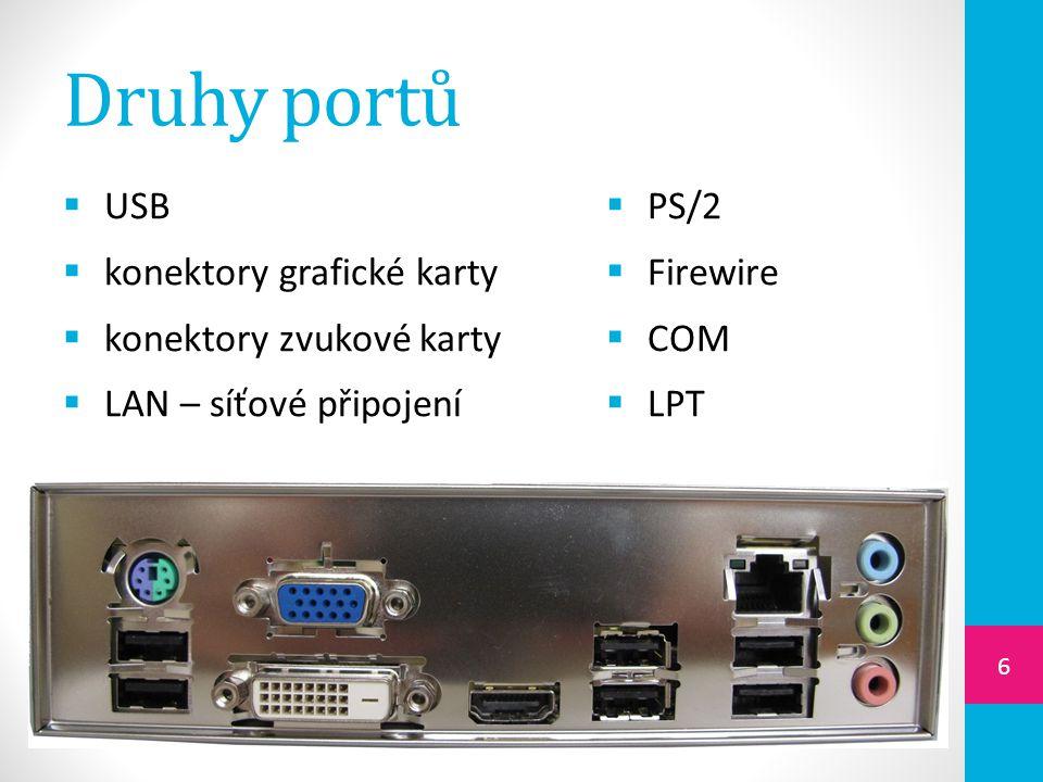 Druhy portů  USB  konektory grafické karty  konektory zvukové karty  LAN – síťové připojení  PS/2  Firewire  COM  LPT 6