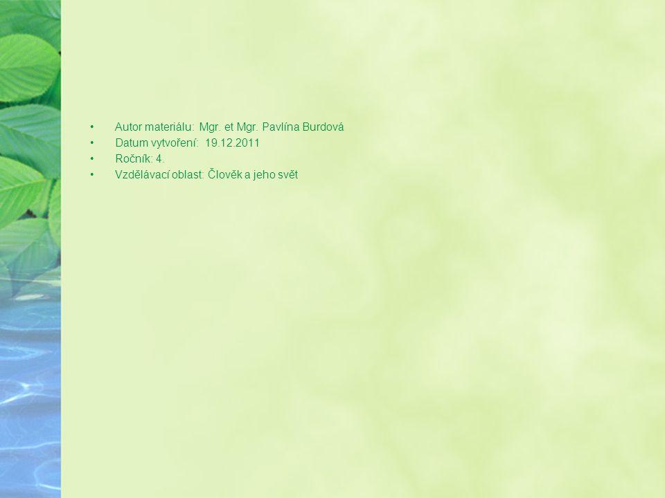 •Autor materiálu: Mgr.et Mgr. Pavlína Burdová •Datum vytvoření: 19.12.2011 •Ročník: 4.