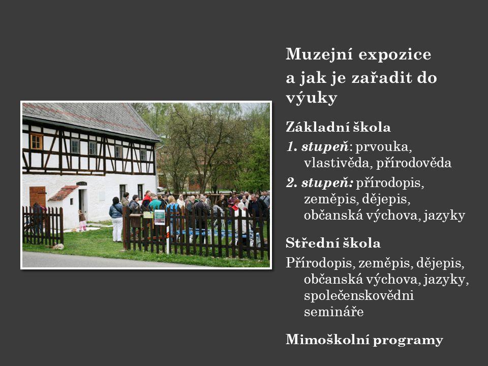 Muzejní expozice a jak je zařadit do výuky Základní škola 1. stupeň : prvouka, vlastivěda, přírodověda 2. stupeň: přírodopis, zeměpis, dějepis, občans