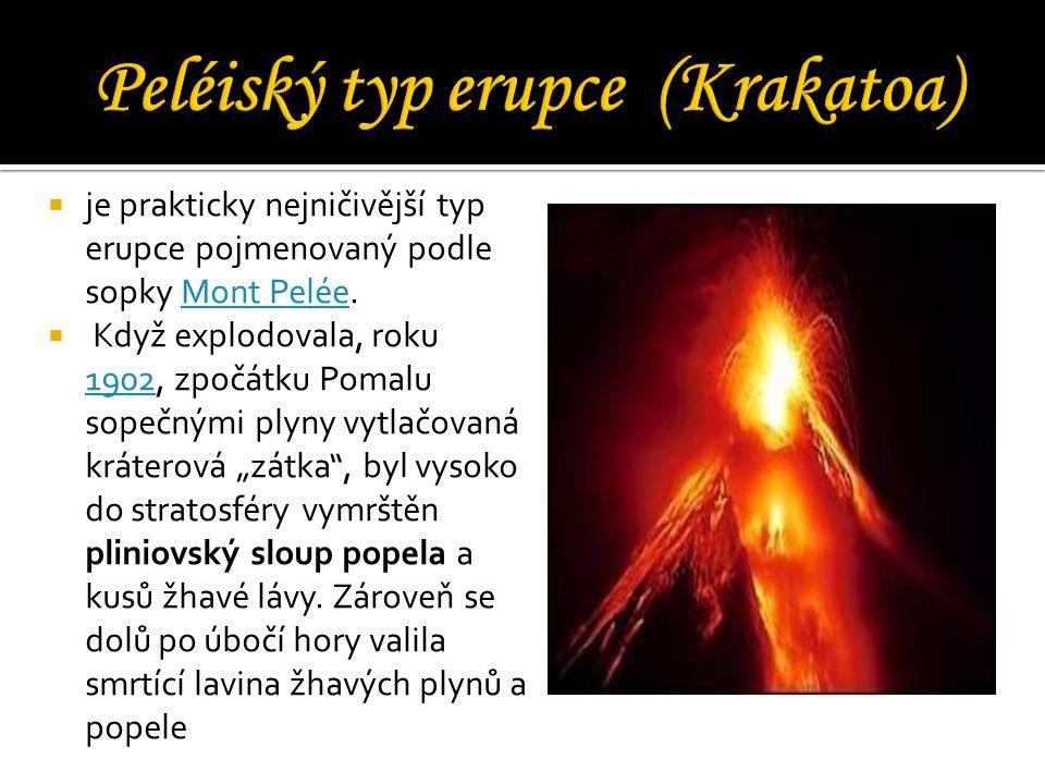  je prakticky nejničivější typ erupce pojmenovaný podle sopky Mont Pelée.Mont Pelée  Když explodovala, roku 1902, zpočátku Pomalu sopečnými plyny vy