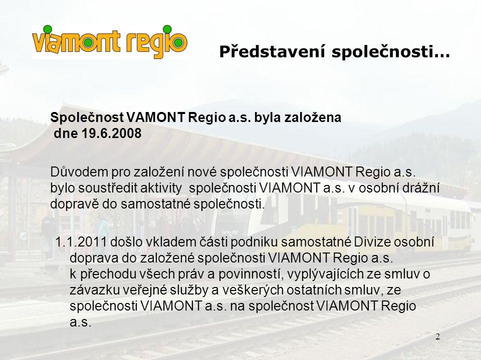 •Od 1.1.2011 přecházejí aktivity provozování veřejné osobní drážní dopravy ze společnosti VIAMONT a.s.