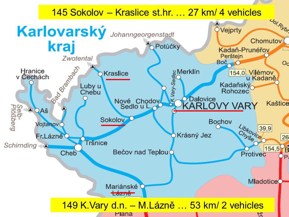 9 •Sokolov – Kraslice státní hranice –délka 28 kilometrů –15 párů vlaků •Sokolov – Karlovy Vary (přímý spoj Zwickau - Karlovy Vary- Mariánské Lázně) –délka 26 kilometrů –3 páry vlaků o víkendu •Karlovy Vary d.n.