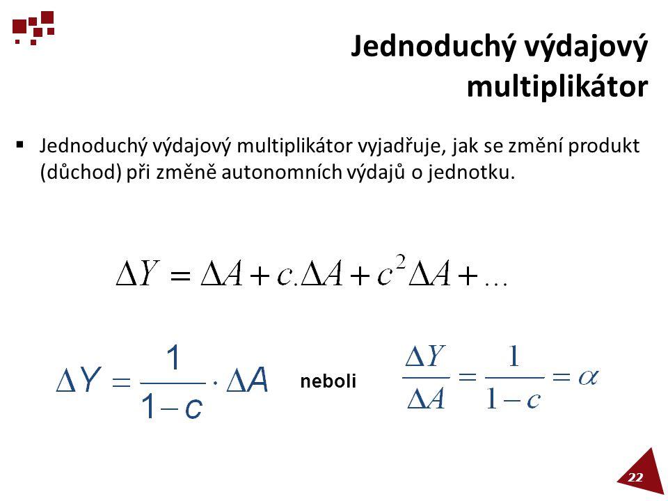 Jednoduchý výdajový multiplikátor  Jednoduchý výdajový multiplikátor vyjadřuje, jak se změní produkt (důchod) při změně autonomních výdajů o jednotku