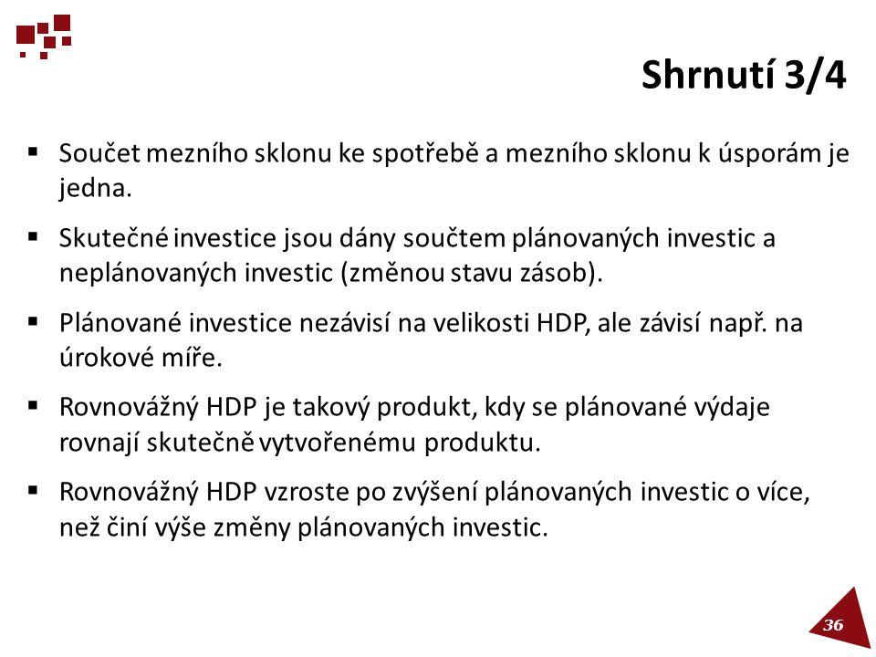 Shrnutí 3/4  Součet mezního sklonu ke spotřebě a mezního sklonu k úsporám je jedna.  Skutečné investice jsou dány součtem plánovaných investic a nep