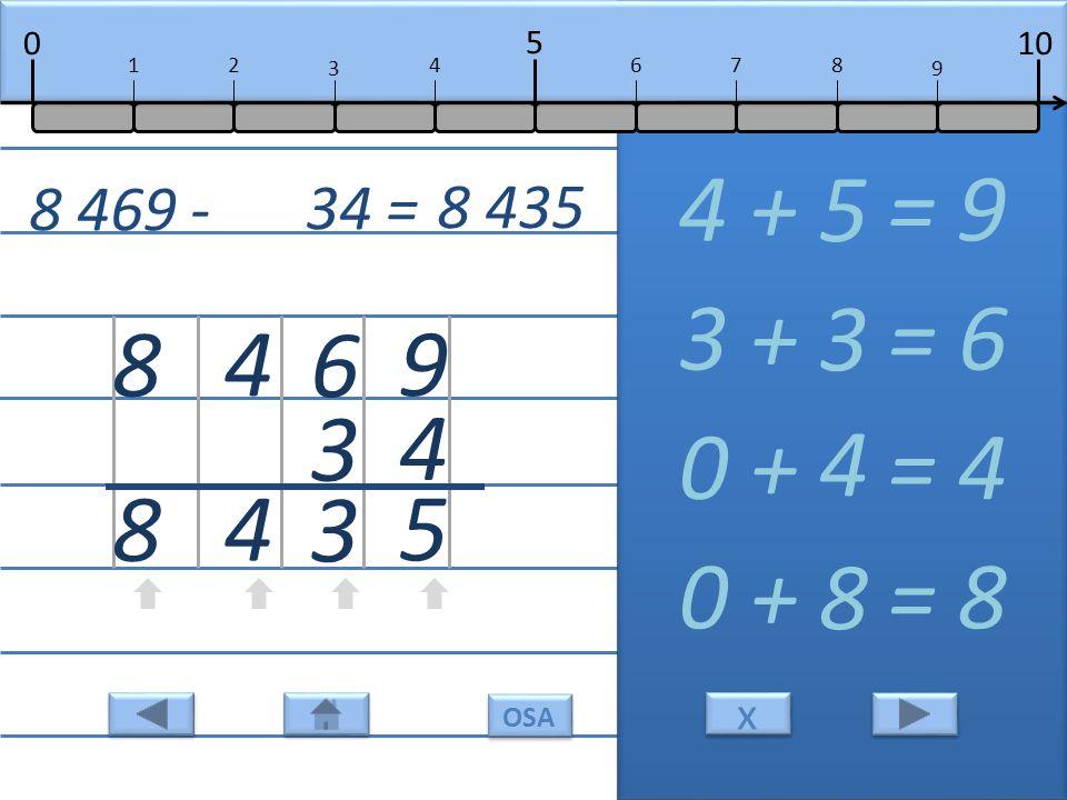 9 4 5 4 + = 9 5 6 3 3 3 + = 6 3 4 4 0 + = 4 4 8 8 0 + = 8 8 8 469 - 34 = 8 435 10 5 0 678 9 12 3 4 x x OSA