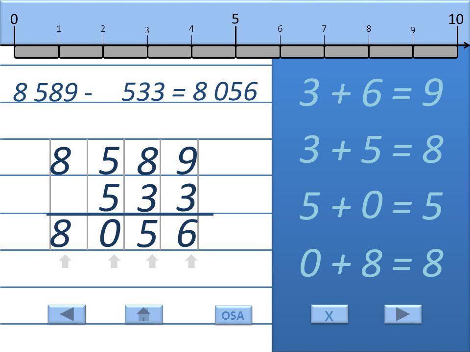 9 3 6 3 + = 9 6 8 3 5 3 + = 8 5 5 5 0 5 + = 5 0 8 8 0 + = 8 8 8 589 - 533 = 8 056 10 5 0 678 9 12 3 4 x x OSA
