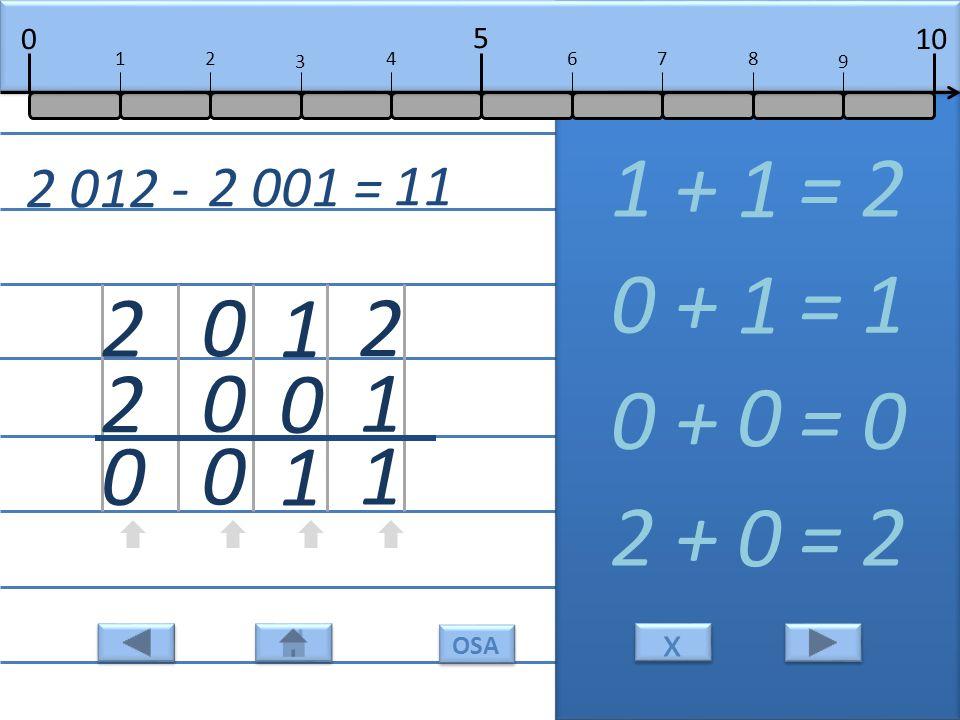 2 1 1 1 + = 2 1 1 0 1 0 + = 1 1 0 0 0 0 + = 0 0 2 2 0 2 + = 2 0 2 012 - 2 001 = 11 10 5 0 678 9 12 3 4 x x OSA