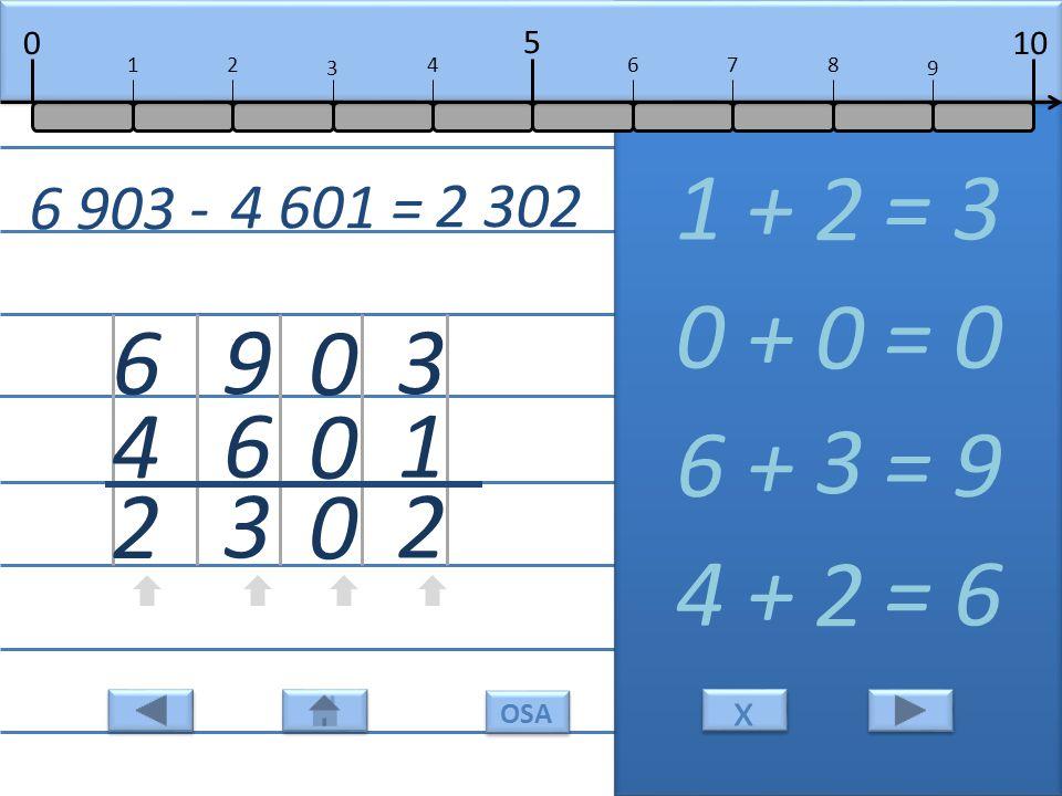 3 1 2 1 + = 3 2 0 0 0 0 + = 0 0 9 6 3 6 + = 9 3 6 4 2 4 + = 6 2 6 903 - 4 601 = 2 302 10 5 0 678 9 12 3 4 x x OSA