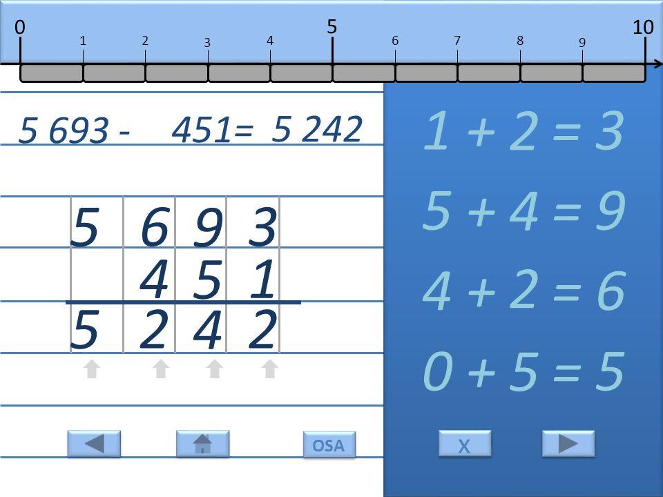 3 1 2 1 + = 3 2 9 5 4 5 + = 9 4 6 4 2 4 + = 6 2 5 5 0 + = 5 5 5 693 - 451= 5 242 10 5 0 678 9 12 3 4 x x OSA