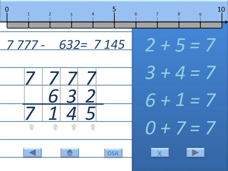 7 2 5 2 + = 7 5 7 3 4 3 + = 7 4 7 6 1 6 + = 7 1 7 7 0 + = 7 7 7 777 - 632= 7 145 10 5 0 678 9 12 3 4 x x OSA