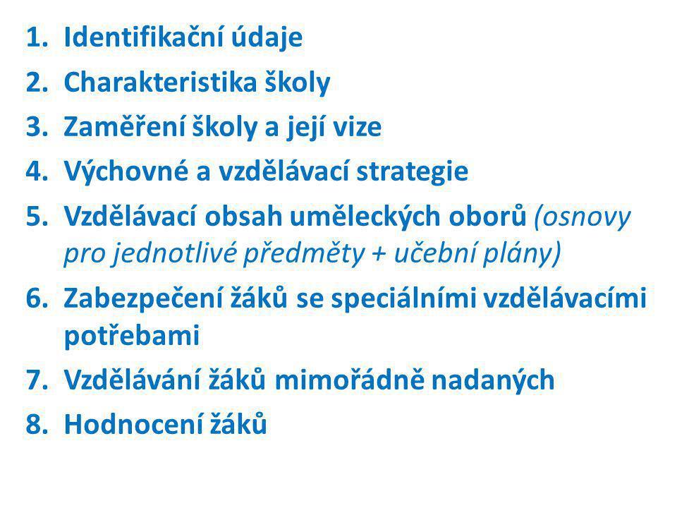 1.Identifikační údaje 2.Charakteristika školy 3.Zaměření školy a její vize 4.Výchovné a vzdělávací strategie 5.Vzdělávací obsah uměleckých oborů (osnovy pro jednotlivé předměty + učební plány) 6.Zabezpečení žáků se speciálními vzdělávacími potřebami 7.Vzdělávání žáků mimořádně nadaných 8.Hodnocení žáků