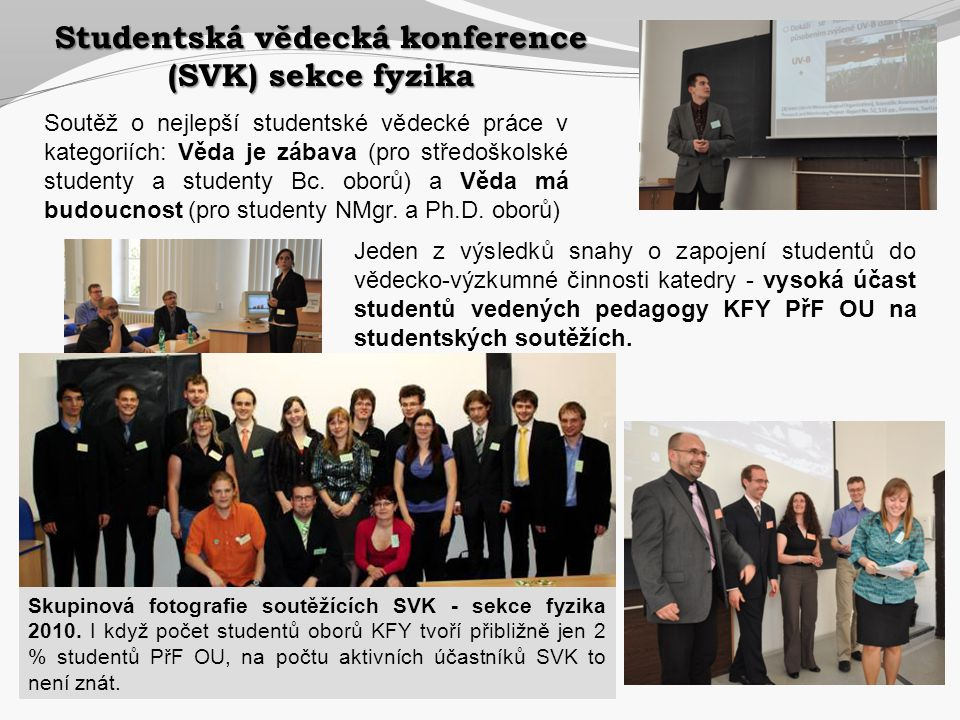 Studentská vědecká konference (SVK) sekce fyzika Soutěž o nejlepší studentské vědecké práce v kategoriích: Věda je zábava (pro středoškolské studenty