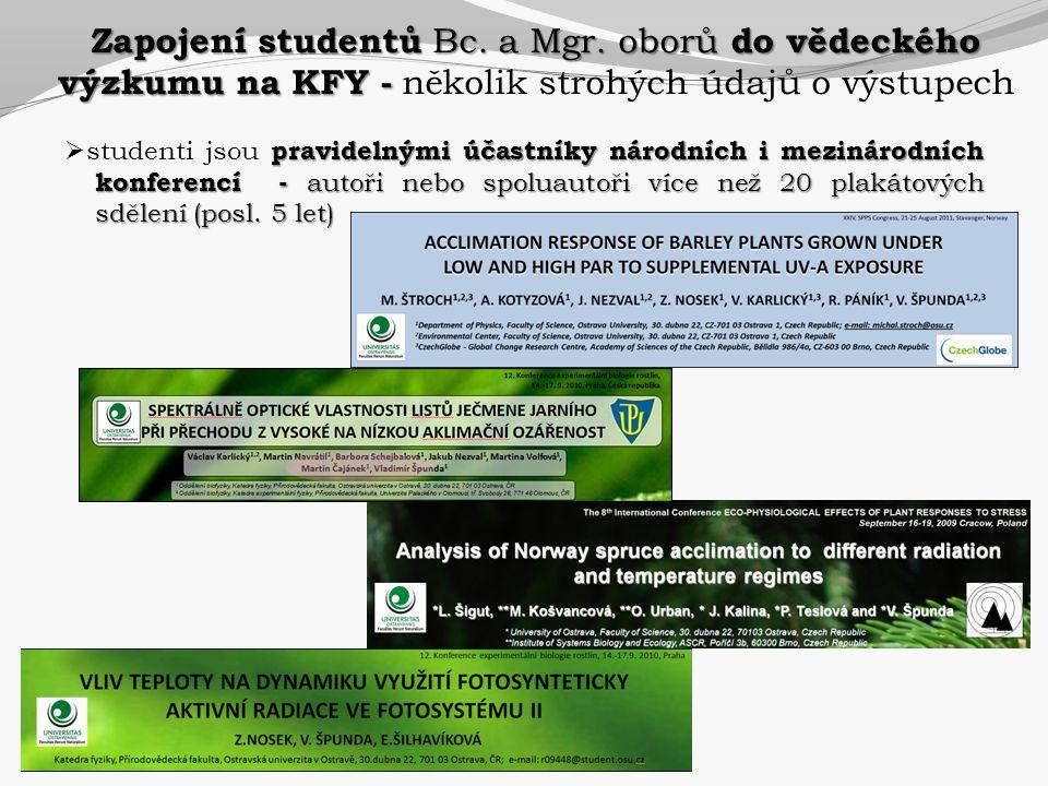 pravidelnými účastníky národních i mezinárodních konferencí - autoři nebo spoluautoři více než 20 plakátových sdělení (posl. 5 let)  studenti jsou pr
