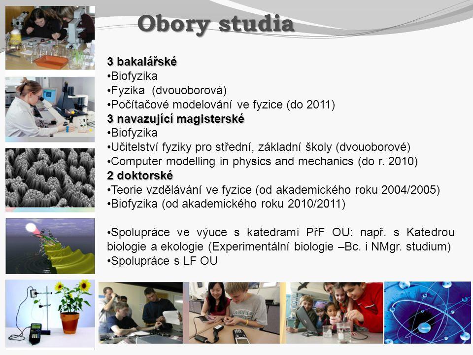 3 bakalářské •Biofyzika •Fyzika (dvouoborová) •Počítačové modelování ve fyzice (do 2011) 3 navazující magisterské •Biofyzika •Učitelství fyziky pro st