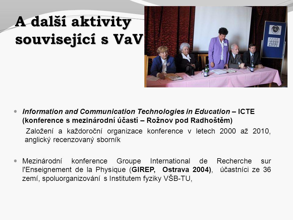 A další aktivity související s VaV  Information and Communication Technologies in Education – ICTE (konference s mezinárodní účastí – Rožnov pod Radh