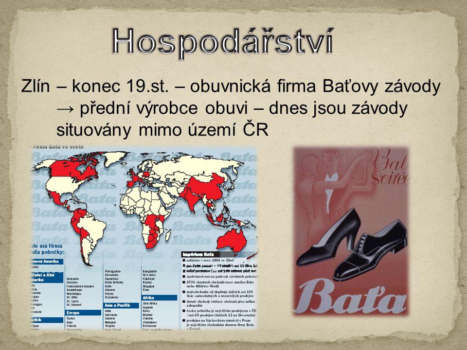 Zlín – konec 19.st. – obuvnická firma Baťovy závody → přední výrobce obuvi – dnes jsou závody situovány mimo území ČR