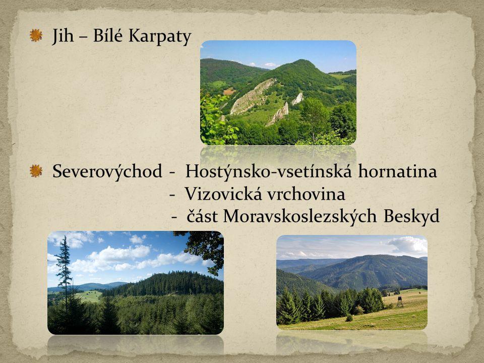 Jih – Bílé Karpaty Severovýchod - Hostýnsko-vsetínská hornatina - Vizovická vrchovina - část Moravskoslezských Beskyd