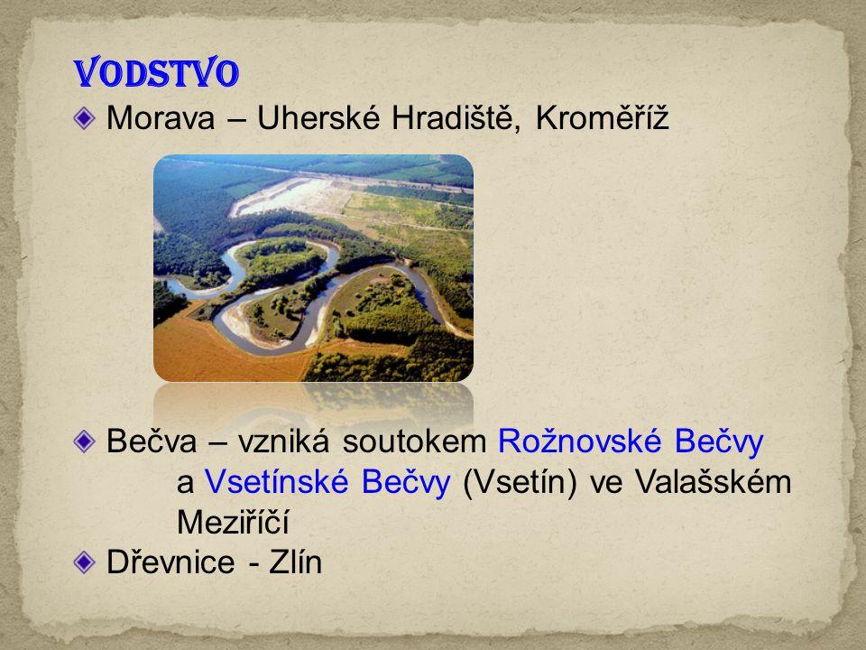 VODSTVO Morava – Uherské Hradiště, Kroměříž Bečva – vzniká soutokem Rožnovské Bečvy a Vsetínské Bečvy (Vsetín) ve Valašském Meziříčí Dřevnice - Zlín