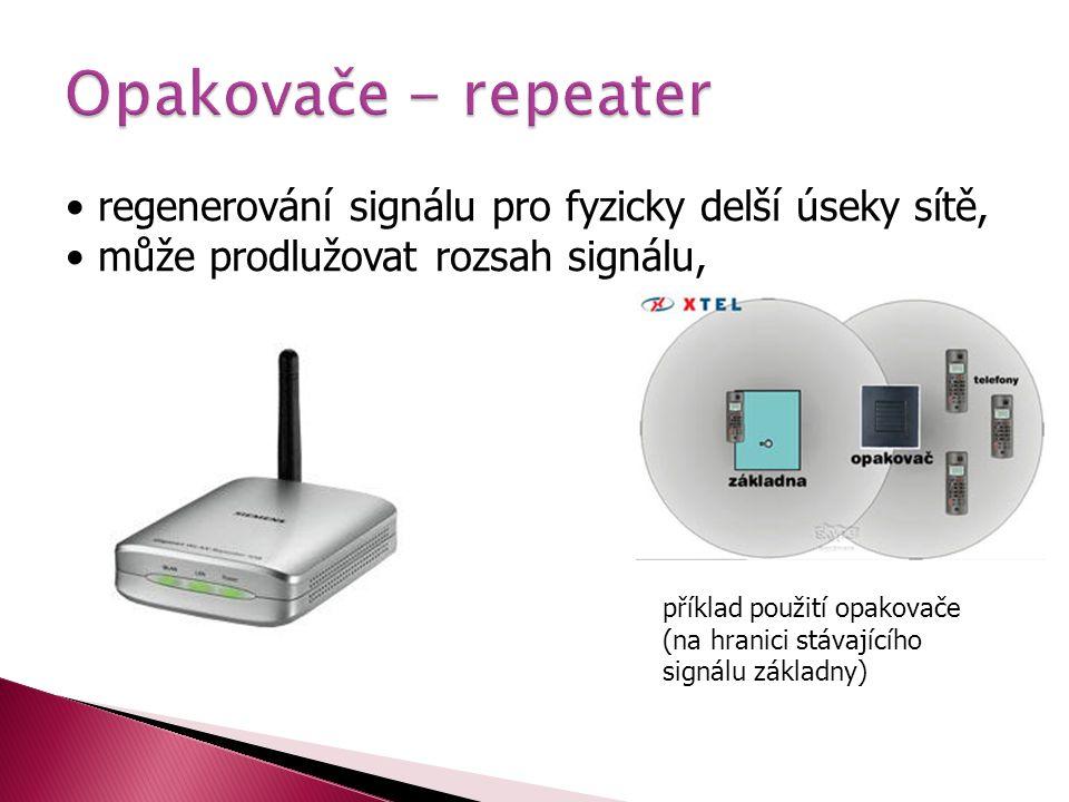 • regenerování signálu pro fyzicky delší úseky sítě, • může prodlužovat rozsah signálu, příklad použití opakovače (na hranici stávajícího signálu zákl