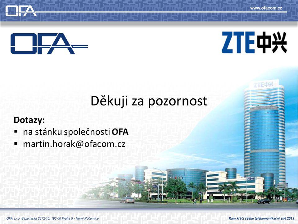 Děkuji za pozornost Dotazy:  na stánku společnosti OFA  martin.horak@ofacom.cz