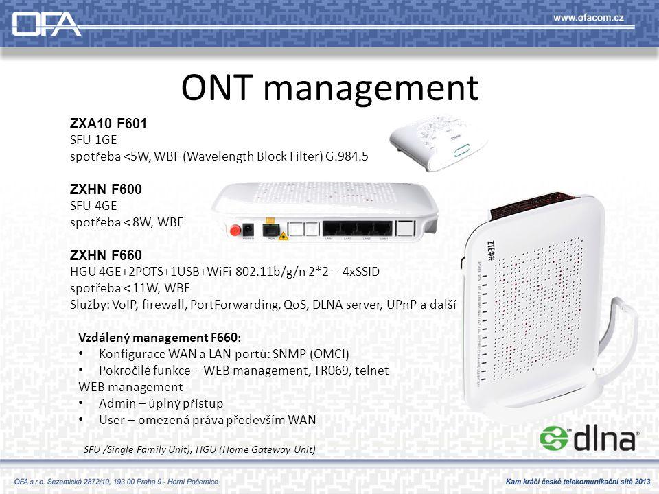ONT management ZXA10 F601 SFU 1GE spotřeba <5W, WBF (Wavelength Block Filter) G.984.5 ZXHN F600 SFU 4GE spotřeba < 8W, WBF ZXHN F660 HGU 4GE+2POTS+1USB+WiFi 802.11b/g/n 2*2 – 4xSSID spotřeba < 11W, WBF Služby: VoIP, firewall, PortForwarding, QoS, DLNA server, UPnP a další Vzdálený management F660: • Konfigurace WAN a LAN portů: SNMP (OMCI) • Pokročilé funkce – WEB management, TR069, telnet WEB management • Admin – úplný přístup • User – omezená práva především WAN SFU /Single Family Unit), HGU (Home Gateway Unit)
