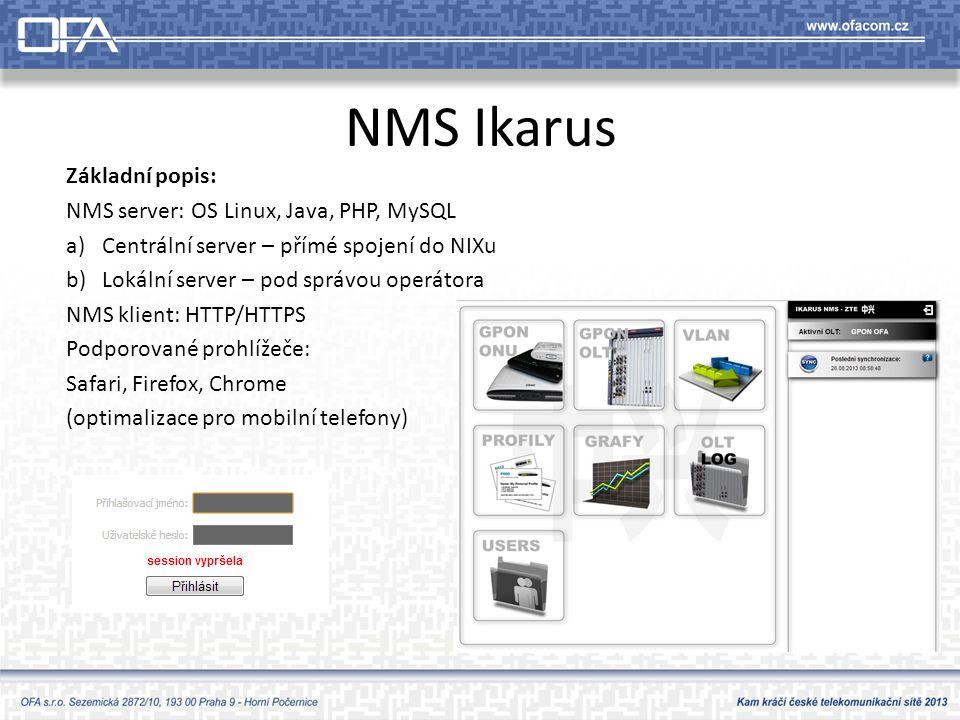 NMS Ikarus Základní popis: NMS server: OS Linux, Java, PHP, MySQL a)Centrální server – přímé spojení do NIXu b)Lokální server – pod správou operátora NMS klient: HTTP/HTTPS Podporované prohlížeče: Safari, Firefox, Chrome (optimalizace pro mobilní telefony)