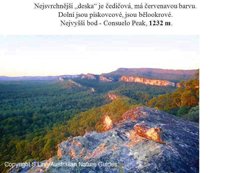 """Nejsvrchnější """"deska"""" je čedičová, má červenavou barvu. Dolní jsou pískovcové, jsou bělookrové. Nejvyšší bod - Consuelo Peak, 1232 m."""