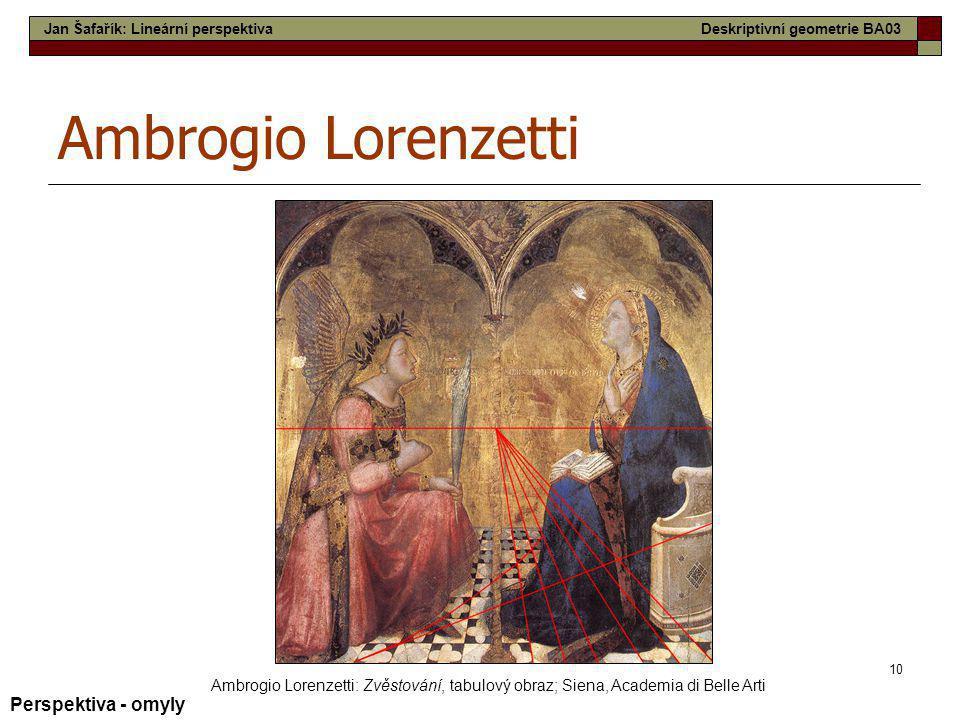10 Ambrogio Lorenzetti Ambrogio Lorenzetti: Zvěstování, tabulový obraz; Siena, Academia di Belle Arti Perspektiva - omyly Jan Šafařík: Lineární perspe