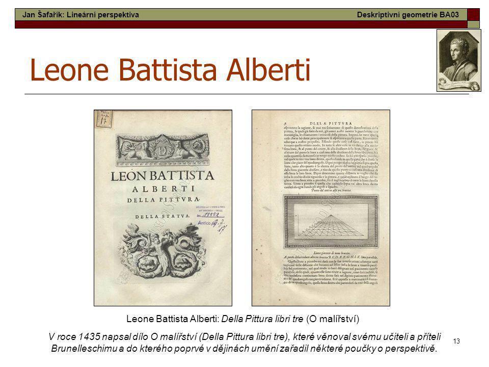 13 Leone Battista Alberti Leone Battista Alberti: Della Pittura libri tre (O malířství) V roce 1435 napsal dílo O malířství (Della Pittura libri tre),